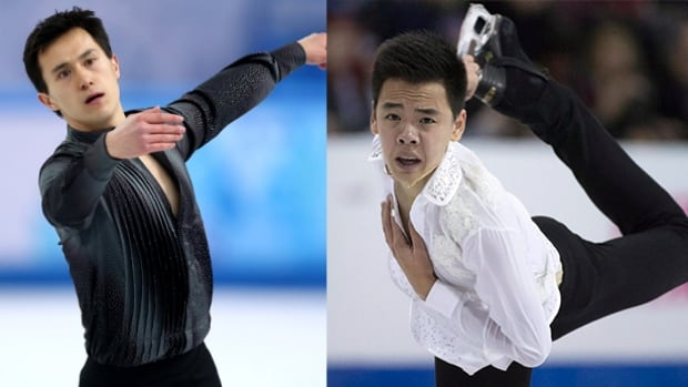 Patrick Chan, left, added a second triple Axel to his long routine in preparation for the national championships, while Nam Nguyen has gone back to his old short program.