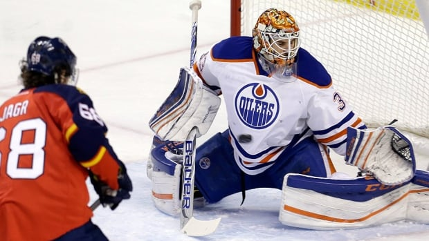Oilers goalie Cam Talbot makes one of his 31 saves in Monday night's 4-2 win over the Panthers in Sunrise, Fla. The Panthers pressured Edmonton late in the third period but Talbot stood tall, his biggest save coming on a wraparound attempted by Florida defenceman Dmitry Kulikov with less than three minutes left in regulation.