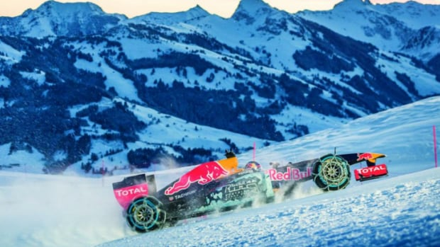 Redbull Racing airlifted its RB7 racecar to the top of the Hahnekamm mountain in Kitzbuehel, Austria to see what would happen when you raced it back down.