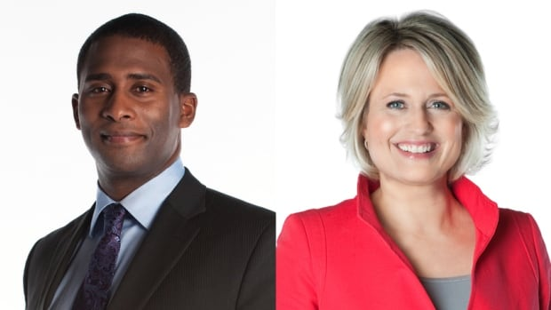 Adrian Harewood, left, and Lucy van Oldenbarneveld, right, are nominated jointly for best local news anchor in the 2016 Canadian Screen Awards.