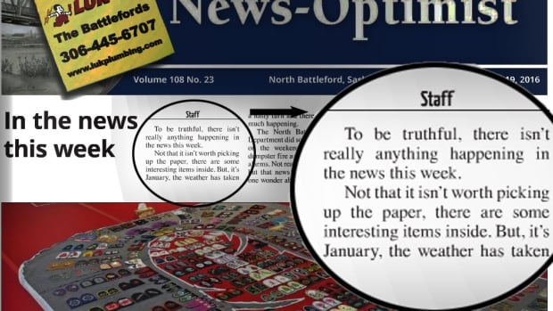 There isn't much happening in the Battlefords these days, a front-page article in the News-Optimist told readers this week.