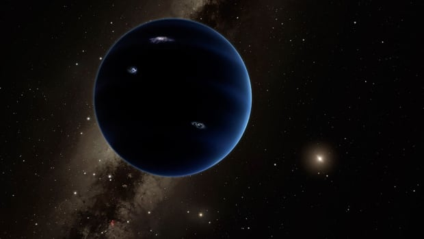 This artist's rendering shows the distant view from Planet 9 back toward the sun.