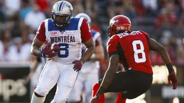 Nik Lewis, left, who had 70 receptions for the Alouettes last season, ranks seventh all-time in CFL catches.