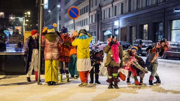The Loldiers of Odin clown troupe take to the streets of Tampere, Finland.