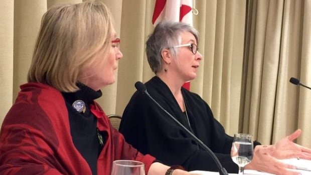 Minister of Indigenous and Northern Affairs Carolyn Bennett and Minister of Status of Women Patty Hajdu speak to the media in Halifax, Jan. 20, 2016.