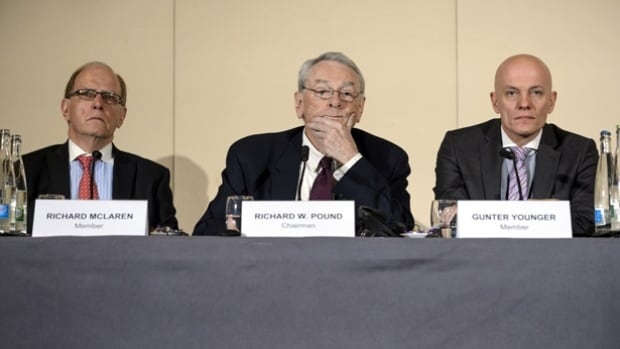 WADA, which issued a report chaired by Canada's Dick Pound, centre, accusing Russia of state-sponsored doping, is appointing three outside experts to oversee the cleanup of Russia's anti-doping program.
