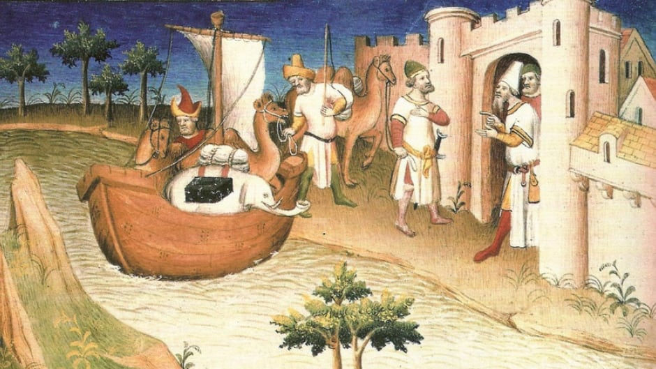 "Illustration from the ""The Travels of Marco Polo"" (""Il milione""), by Marco Polo and Rustichello da Pisa, originally published during Polo's lifetime (c. 1254 - January 8, 1324)."