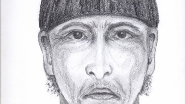 A police sketch of the suspect who is described as 45-years-old, dark complexion, approximately 160 cm tall with a thin build.