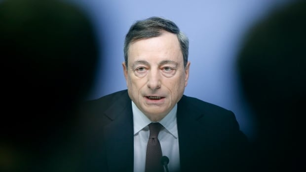 President of the European Central Bank Mario Draghi seeks to reassure investors during a news conference in Frankfurt, Germany on Thursday.