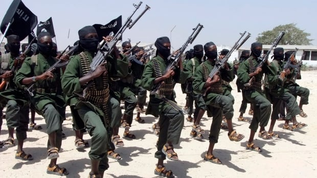 Newly trained al-Shabaab fighters perform military exercises in Somalia in 2011. The Islamic extremist group claimed responsibility for Thursday's attack in the capital Mogadishu.