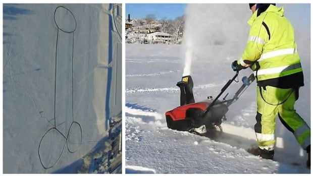 Emilian Sava made the giant penis with a snow-blower.