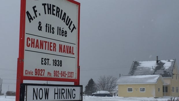 The sign says it all. A.F. Theriault is hiring workers returning to Nova Scotia from the Alberta oilpatch.