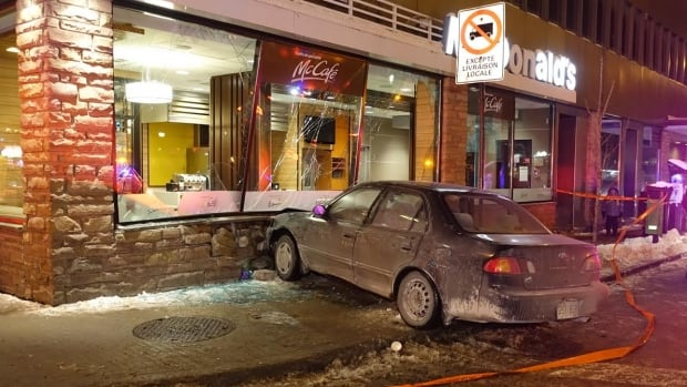 car crashes into a mcdonald s on jean talon street montreal  a car slammed into a mcdonald s restaurant on the corner of hutchison and jean talon