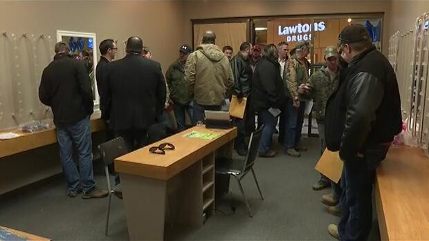People lined up for the the K+S Potash Canada job fair in Sussex on Friday, which runs until Sunday.