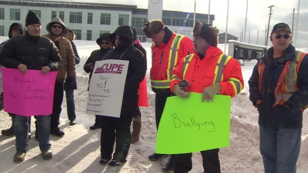 Members of CUPE protest in front of the Conception Bay South town hall Friday.