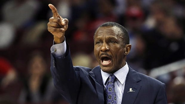 Raptors head coach Dwane Casey yells to his team during the first half against the Philadelphia 76ers on Jan. 9 in Philadelphia.