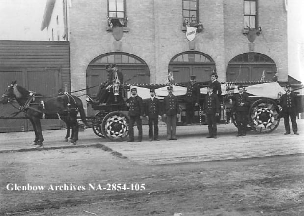 "Horse-drawn ""Ladder"" from Calgary's Fire hall #1, 1898"