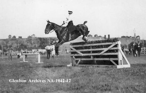 Horse jumping in Calgary, 1900
