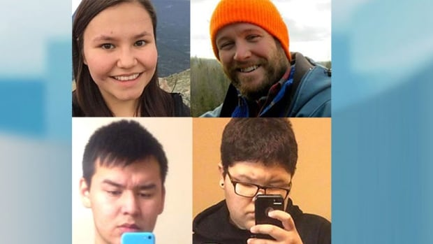 Four people were killed by teenaged shooter Jan 22, 2016 in La Loche: (Clockwise from top left): Marie Janvier, 21; Adam Wood, 35; Drayden Fontaine, 13; and Dayne Fontaine, 17.