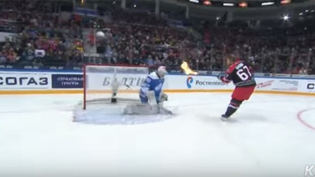 Things got heated in the KHL All-Star shootout when Linus Omark decided to light his stick on fire.
