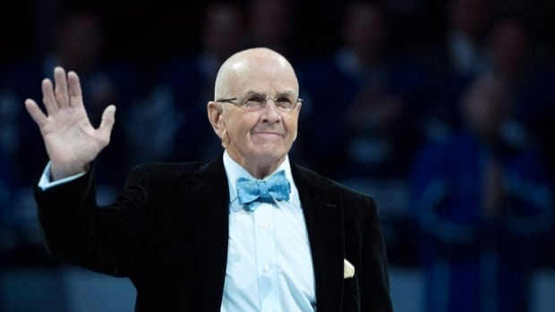 Former Toronto Maple Leafs player Dave Keon is honoured before the Maple Leafs play the Montreal Canadiens in Toronto on Saturday.