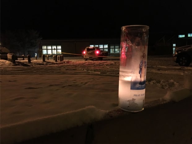 Candle outside La Loche Community School