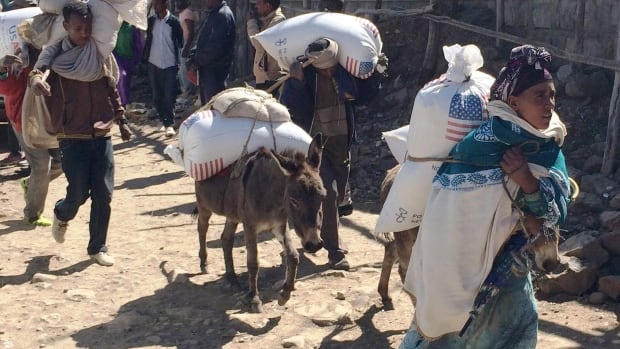 Families begin their journey home from the Estayesh Food Distribution Site in Denkena Kebele, Meket Woreda, Ethiopia, in December 2015. The UN warns that Ethiopia is facing its worst drought in 50 years.