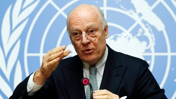 UN mediator for Syria Staffan de Mistura gestures during a news conference at the United Nations in Geneva, Switzerland on Monday.