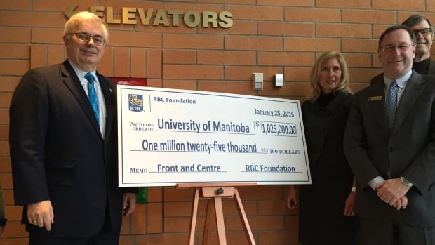 "David Barnard (left), vice-chancellor at the University of Manitoba, called the donation from RBC ""thoughtful, forward-thinking and diligent"" in a statement Monday."