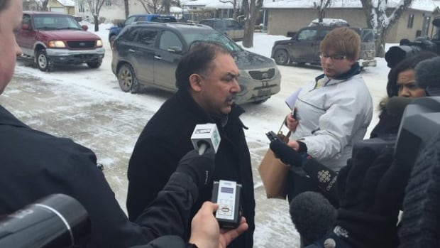 Bob Merasty, vice-chief of the Federation of Saskatchewan Indian Nations, speaks to reporters outside the Meadow Lake courthouse.