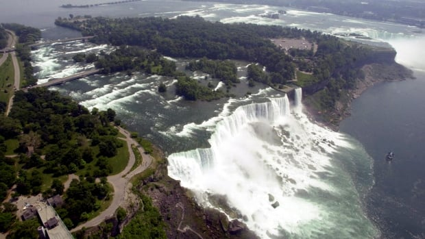 In this June 14, 2001, file aerial photo, the United States side, foreground, of Niagara Falls is viewed.