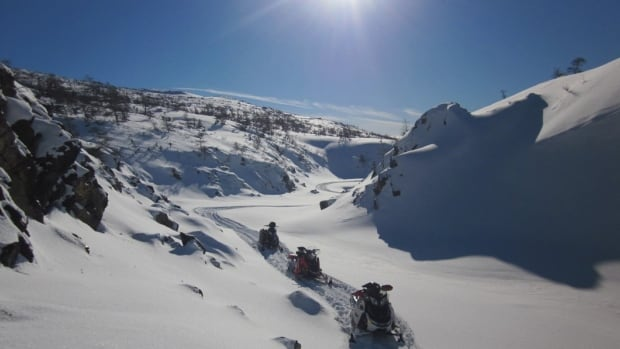 Lewis Hills is the highest elevation point in Newfoundland and is a popular spot for snowmobilers.