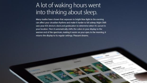 Apple's newest operating system introduces Night Shift, a feature which will automatically make adjustments to screen colour.