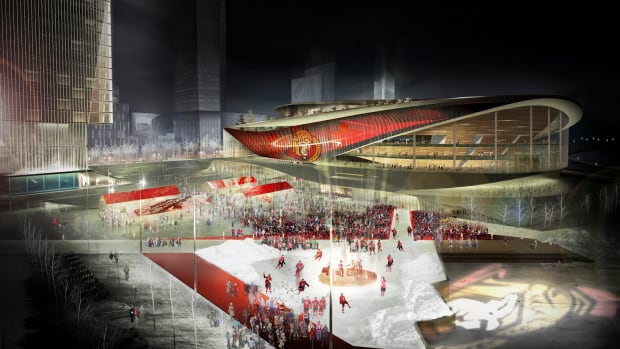 The RendezVous LeBreton Group's proposal moves the Ottawa Senators' hockey franchise to a new downtown arena that has a public space called LeBreton Square right outside.
