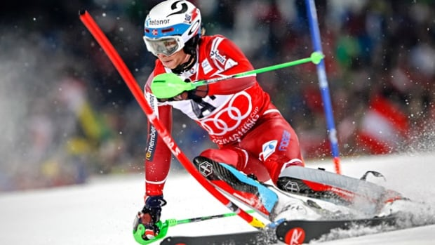 Henrik Kristoffersen won a night slalom at Schladming, Austria Tuesday for his sixth World Cup slalom victory of the season.