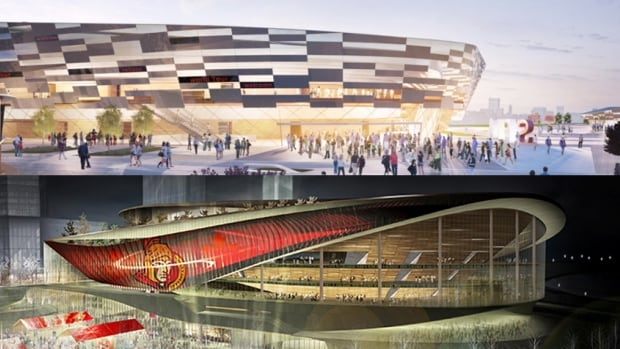 This image shows the two renderings for an NHL-style arena at LeBreton Flats. The top image shows the rendering from the Devcore Canderel DLS bid, while the bottom image shows what the RendezVous LeBreton Group has in mind.