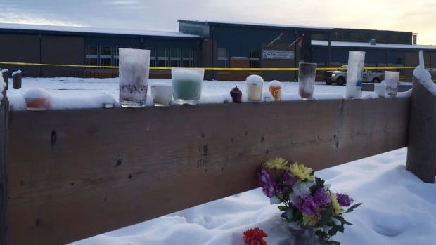 Flowers and candles have been placed outside the school in La Loche that was the scene of a deadly shooting on Jan. 22.