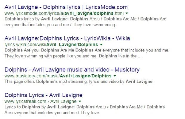avril lavigne dolphins lyrics search