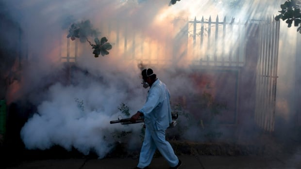 A health ministry worker fumigates a house in Managua, Nicaragua on Jan. 26, 2016. Cases of the virus have been confirmed in 24 countries, 22 of which are in the Americas.