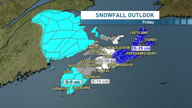 Snowfall outlook for Friday