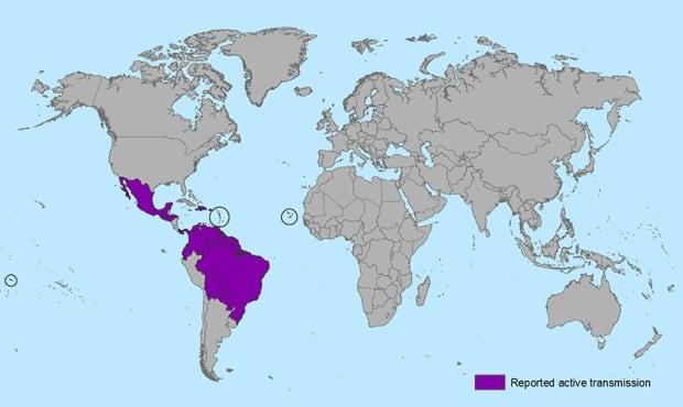 CDC map - Zika virus