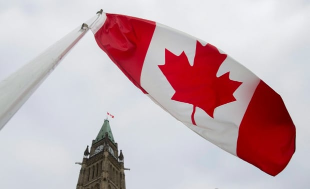 Canadian flag flying near Parliament buildings
