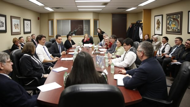 Leaders from the Inuvialuit region, Nunavut, Nunavik and Nunatsiavut met with Prime Minister Justin Trudeau at Inuit Tapiriit Kanatami's offices in Ottawa on Tuesday.