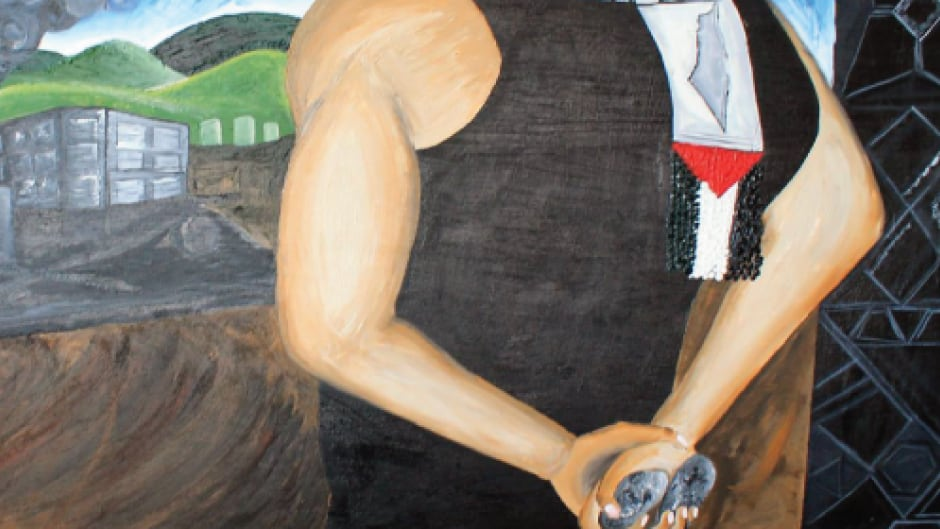 A mural that hangs at York University called Palestinian Roots by Ahmad Al Abid