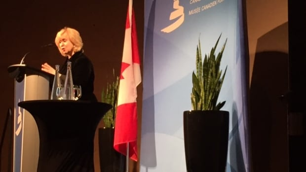 Former prime minister Kim Campbell addresses a crowd of about 150 people during a free keynote speech she gave at the Canadian Museum for Human Rights on Wednesday.