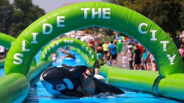 No one in Halifax got to have this much fun on a giant water slide. The event was cancelled before anyone could break out their inflatable Orcas.