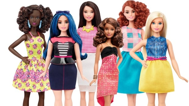 This photo provided by Mattel shows a group of new Barbie dolls introduced in January 2016. Mattel, the maker of the famous plastic doll, said it will start selling Barbies in three new body types: tall, curvy and petite. She'll also come in seven skin tones, 22 eye colors and 24 hairstyles.