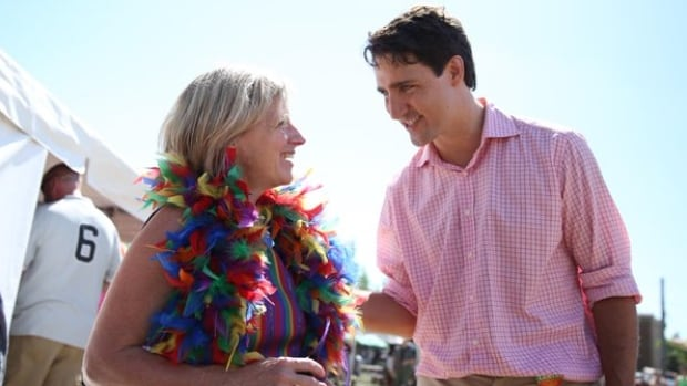 Premier Rachel Notley talked to Justin Trudeau when they marched in the Edmonton Pride Parade last June. They met later that day at Notley's office in the Alberta legislature. Trudeau also took part in events at the Calgary Stampede in his pre-election visit.