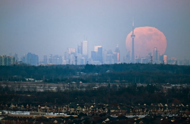 WIP moonrise over Toronto from Milton Ont Jan 23 2016