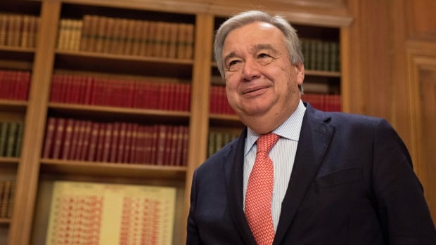 The former head of the UN refugee agency Antonio Guterres says he is grateful to Canada for its contribution to the resettlement of refugees fleeing conflicts in Syria and Iraq. Guterres is giving a speech at the Chateau Laurier in Ottawa Friday morning.